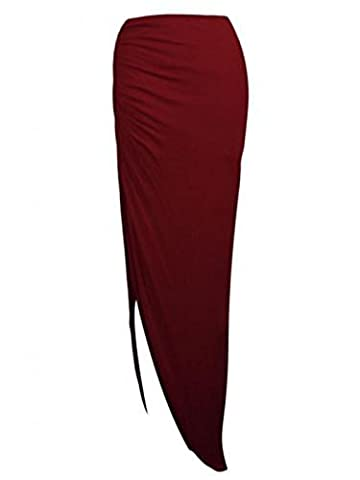 Ladies Ruched Side Split Slit Long Maxi Skirt Dress Size 8-14 UK (S/M (8-10 UK), Wine)
