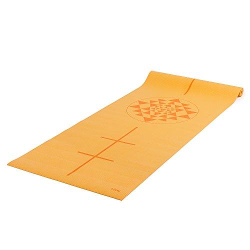 Yogamatte der LEELA COLLECTION, PVC-Matte mit Öko-Tex, bedruckt mit orange-gelbem Design-Print