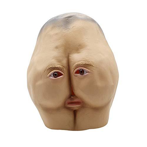 AKCHIUY Funny Ass Latex Masken, Adult Halloween Latex Kostüm Party Unisex Requisiten Masken Prom Maske Weihnachten Funny Adjusting Toys Latex Headgear,Brown-OneSize - Ass Latex
