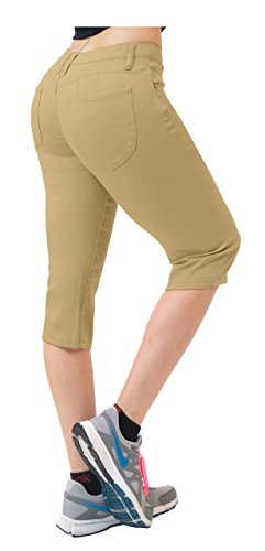HyBrid & Company Damen Butt Lift super bequemen Stretch-Denim Capri jeans 9 Khaki