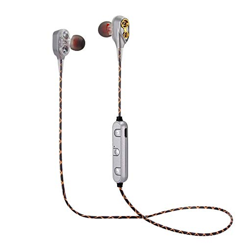 opfhörer In Ear Sport V4.2 HiFi Schwere Bässe Dual Dynamic Sport Ohrhörer mit 10 Meter Reichweite, eingebautes Mikrofon für iPhone, Huawei und Samsung (Silber) ()