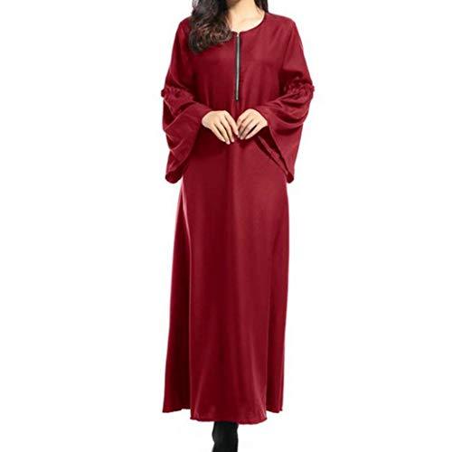 BaZhaHei Musulmán Vestido musulmán de Manga Larga para Mujer Color sólido árabe túnica Suelta Túnica Suelta árabe musulmán de Mujer para Mujer Retro para Mujer Manga Larga Blusa Ropa Trajes de Mujer