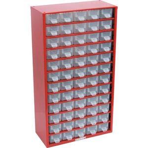 Kennedy Kleinteilemagazin Lagerschrank rot aus Stahl 551x306x155 mm mit 60 trans. Schubladen aus Polypropylen -