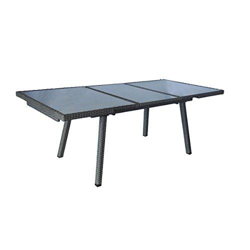 greemotion Ausziehtisch Malmö grau, Tisch mit Sicherheitsglasplatte, Esstisch für In- und Outdoor,...