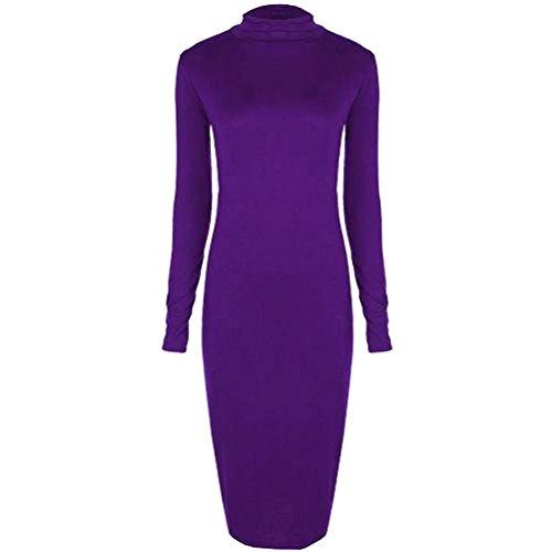 Janisramone donne trutle collo polo manica lunga striscia bodycon formato del vestito SM, ML, XL, XXL, XXXL Viola