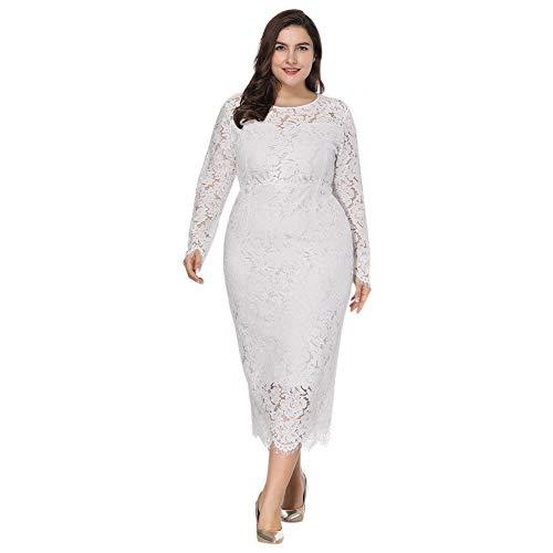 der Große Größen Plus Size Cocktailkleid - Lange Ärmel Spitze Zeremonie Abend Hochzeit Party Geburtstag Kleidung XL-6XL ()
