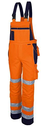 Qualitex Warnschutz-Latzhose Arbeits-Hose PRO MG 245 - orange/marine - Größe: 56