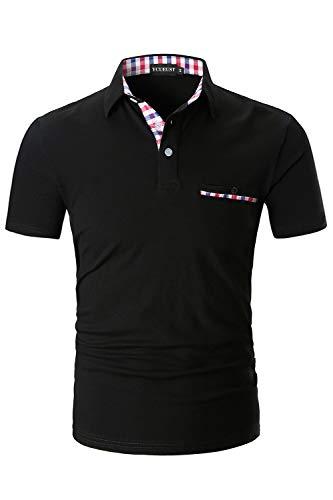YCUEUST Herren Poloshirts Kurzarm Basic Polohemd Sommer Polo Shirt Schwarz Large
