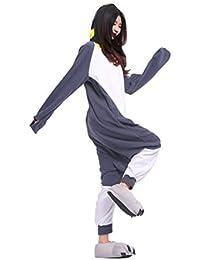 YUWELL Nuevo Unisex Animales Onesie Traje de disfraces Sudaderas Pijamas Ropa de dormir (pingüino gris)