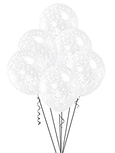 Unique Party- Globos confeti, Color blanco (58114)