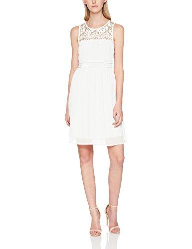 VERO MODA Damen Kleid Vmvanessa SL Short Dress Noos, Weiß (Snow White Snow White), 40 (Herstellergröße: L)