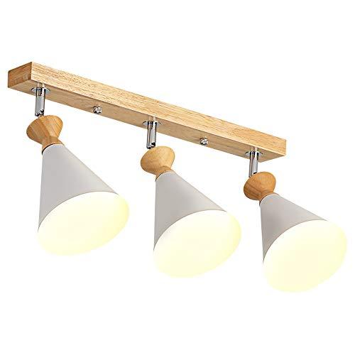 Vintage Holz Deckenstrahler schwenkbar Deckenleuchte mit 3 Flammige weiß Metall Deckenspot für Flur Bar Café Büro Korridor Schlafzimmer Wohnzimmer Esszimmer Küche Deckenbeleuchtung, E27 -