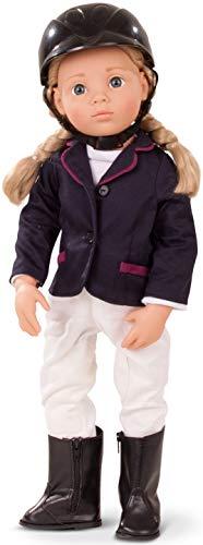 Götz 1466022 Happy Kidz Anna als Turnierreiterin Puppe - 50 cm große Multigelenk-Stehpuppe, Blonde Haare, Blaue Augen - 8-teiliges Set