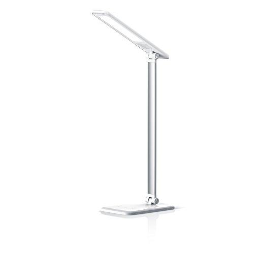 LED Lampe de bureau dimmable | Lampe de table LED / lampe de bureau / lumière de table | 3 niveaux de luminosité | mode - veilleuse | 450 lumen | haute efficacité lumineuse | Contrôle tactile (commande tactile) | repliable (180°) | blanc