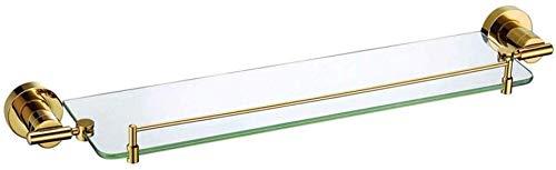 ZHGwlp Baño estante de vidrio con Riel de aluminio y zusätzliche grueso vidrio templado, estantería de ducha rechteckigen estilo contemporáneo soporte de pared, Badezimmer-Glasrahmen, (Color : Gold)