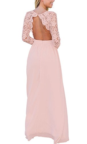 MayStory Women Lace Long Sleeve Backless Evening Dress Maxi Long Bridesmaid Wedding Dresses (S UK8-10, Pink)