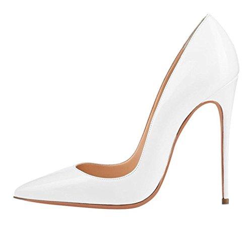 EDEFS Femmes Élégant Talon Haut Escarpins Sexy Bout Pointu Chaussures Soir Fête Chaussures Blanc