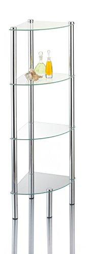 Stand-Eckregal 'Kalundborg', Standregal für Bad & WC mit 4 Glasböden, rostfreies Badregal aus Glas & Chrom, Eck-Regal mit Wandmontage für festen Stand ca. 30 x 30 x 108 cm, Silber