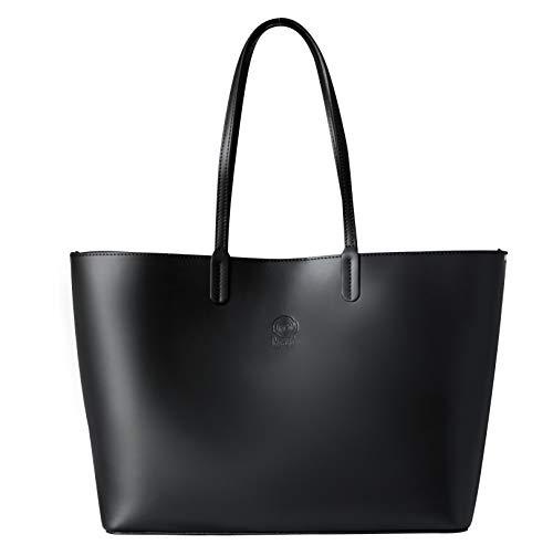 Echt-leder-handtasche Tote Bag (Rosa Lou Firenze Damen Tasche - Leder Shopping Bag - Groß Tote Schulter Tasche - Made in Italy - Perfekt citytasche für Wochenende, Reisen, Arbeit, Business und Schule (Schwarz))