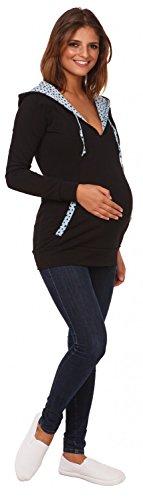 Happy Mama. Femme sweat à capuche maternité allaitement détails contraste. 124p Noir