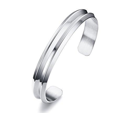 Vnox Edelstahl Haarband Groove Open Cuff Armreif Silber,56 mm Durchmesser (Uhr Genf In Für - Frau)