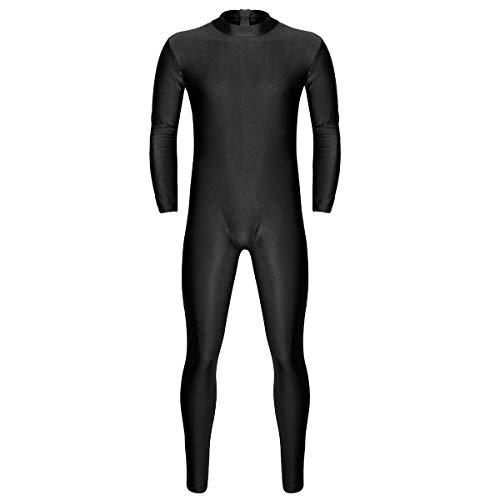 dPois Herren Einteiler Body Overall Langarm Ganzkörper Bodysuit Jumpsuit Männer Ganzkörperanzug Unterhemd mit Reißverschluss Unterwäsche Catsuit M-2XL Schwarz Large