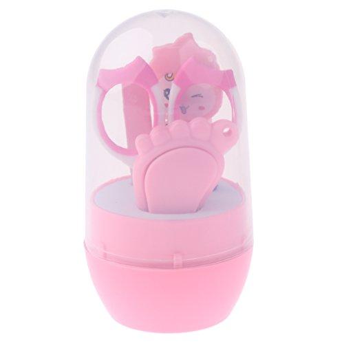 F Fityle Baby Nagelpflege Set 4-Teiliges, Nagelknipser Nagelschere Nagelfeile und Nasen Pinzette Neugeborene Geschenk - Rosa -