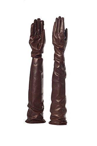La plus grande gamme au monde des gants trés longs en cuir véritable - Doublure en soie - 30 nuances de couleurs - cm 80 COGNAC