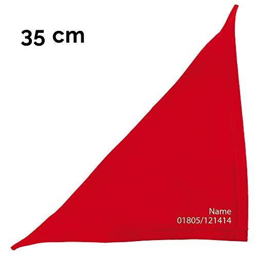 Schecker Besticktes Hundehalstuch in Rot 35 cm Bestickt mit Namen des Hundes und Tel. Nr.