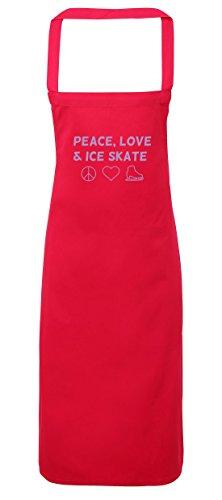 Kostüm Diy King Ice (hippowarehouse Frieden, Liebe und Ice Skate Schürze Küche Kochen Malerei DIY Einheitsgröße Erwachsene, fuchsia pink,)