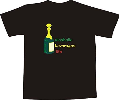 T-Shirt E220 Schönes T-Shirt mit farbigem Brustaufdruck - Logo / Grafik - minimalistisches Motiv - Sektflasche und Schriftzug Schwarz