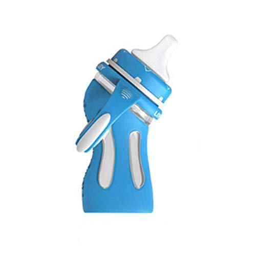 Mutter und Kind liefert temperaturempfindliche Farbflasche hohe Borosilikatflasche intelligente Flaschenheizung Set intelligente warme Milch-Skyblue-240ml