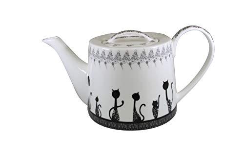 Jameson & Tailor Retro Teekanne Kaffeekanne Katzenparade Brillant-Porzellan 1000ml Füllmenge