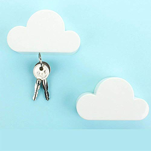Pack de 2 Novedad White Cloud shapes magnético titular de la clave potentes imanes mantener las cadenas de clave percha de pared para casa, oficina, y decoración de sala de estar