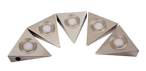 Rolux LED-Dreieckleuchten 5-er Set, Zentralschalter, 5 x 3 W,edelstahl 150719135