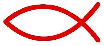 Plott ROT - 5 x 12 cm - Kontur geschnitten - Autoaufkleber Jesus Christus Christenfisch Ichtys Christen Symbol Sticker Aufkleber fürs Auto