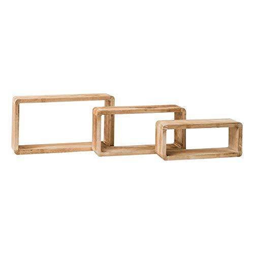 Rebecca mobili set 3 pezzi mensole da parete rettangolari in legno, marrone, stile shabby rustico, cucina camera - misure 39 x 21 x 10 cm (hxlxp) - art. re4079