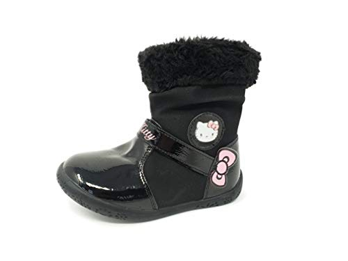 Girls Hello Kitty Patent Leather Winter Snow Boots with Faux Fur Trim