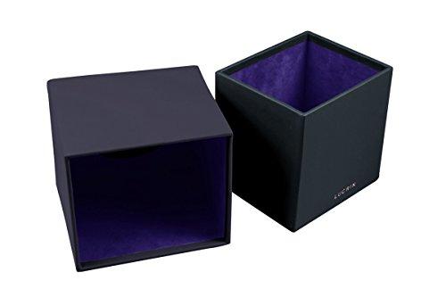 Lucrin - Boite carrée pour mouchoirs - Noir - Cuir Lisse Violet