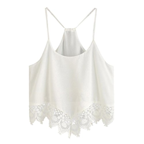 OverDose Damen Lace Chiffon Vest Top Sleeveless Casual Tank Blouse Summer Tops T-Shirt Spitze Weste Sommer Blusen (S, B-Weiß3) (Lace Stretch Tee)