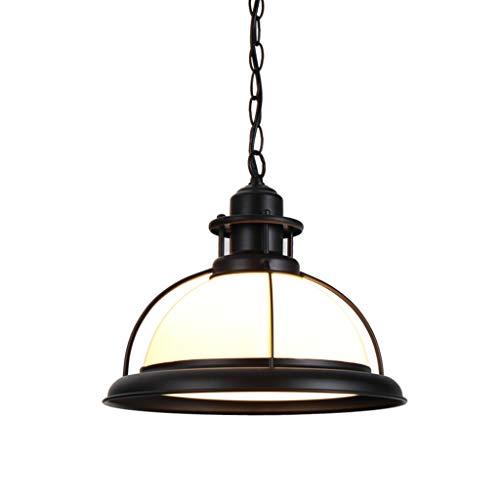 E27 Glas Pendelleuchte, Kreative Vintage Industrie Metall Glas Runde Schatten Loft Pendelleuchte Retro Deckenleuchte Vintage Lampe(Glühbirne nicht enthalten) (Color : Weiß)