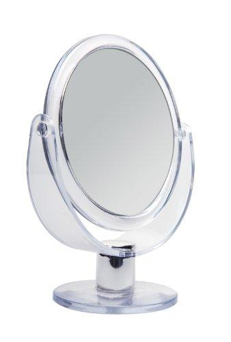 Doppelseitiger Acryl Kosmetex Kosmetik-Spiegel, rund, Stand-Spiegel mit 2-fach Vergrößerung, 17cm...
