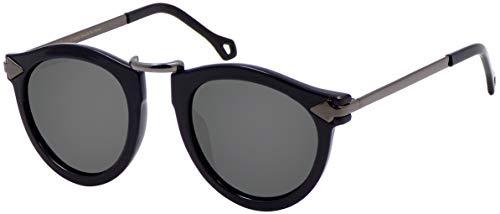 La Optica B.L.M. UV400 CAT 3 CE Damen Sonnenbrille Rund ohne Nasensteg - Glänzend Schwarz (Gläser: Grau)_LO15 Bl B-Grey