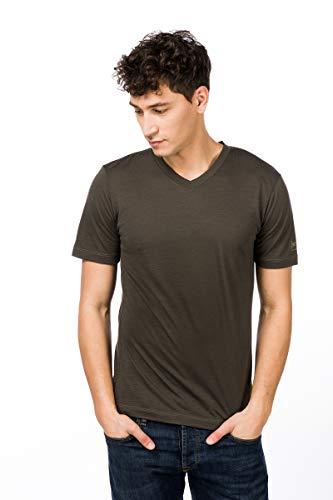 super.natural Dünnes Herren Kurzarm T-Shirt, V-Ausschnitt, Mit Merinowolle, M BASE V NECK TEE 140, Größe: L, Farbe: Khaki/Beige V-neck Training