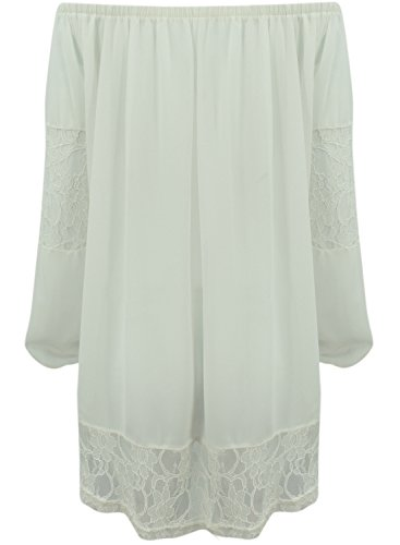 ACHICGIRL Hollow Out Lace Paneled Off the Shoulder Dress White