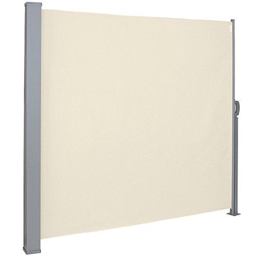 LZQ Seitenmarkise Sichtschutz Sonnenschutz Windschutz, Markisenstoff aus Polyester für Terrasse Camping seitlicher Windschutz (180x300cm, Beige) Sonnenschutz Für Terrasse