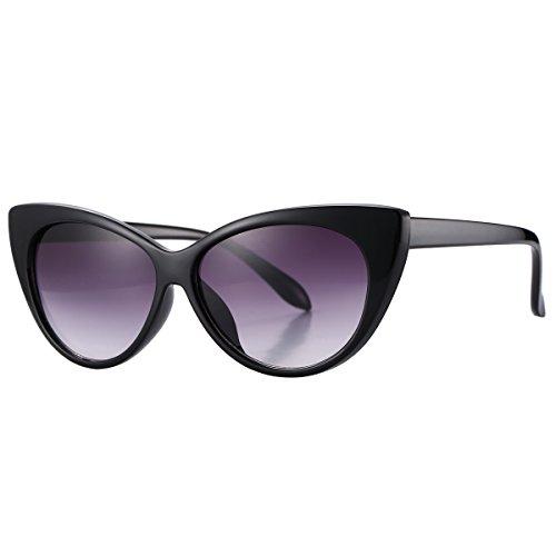 Pro Acme Super niedliche glänzende inspirierte modische schicke hohe Spitzen Katzenaugen-Sonnenbrille (Black Frame/Grey Lens, 56) (Blockieren Spitze)