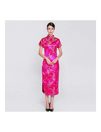 ATLD Cheongsam Rayon Qipao Chinesischen Stil Weibliche Cheongsam Elegante Abendgesellschaft Kleid Leistung Kostüm Übergröße 3XL,Hot Pink,XXXL (Hot Übergröße Kostüm)