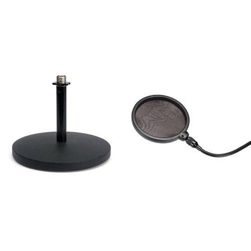 Samson MD5 Mikrofon Tischstativ + Samson PS 01 professioneller Pop Filter - Popschutz - Popfilter - für Studiomikrofone Bundle (Mikrofon-ständer Samson)