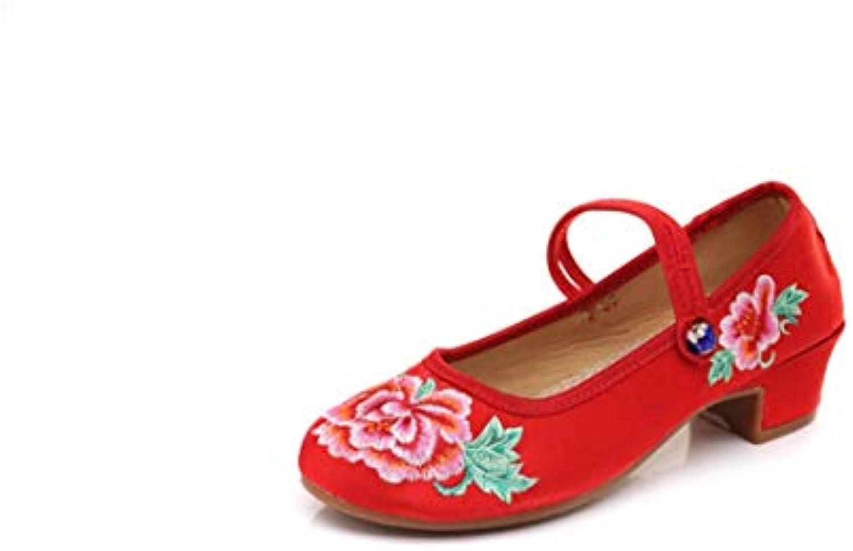 Bordado Zapatos/Alpargatas/ Merceditas/Zapatos de Tela Bordados de Viento Nacional Zapatos de Baile Femenino de...